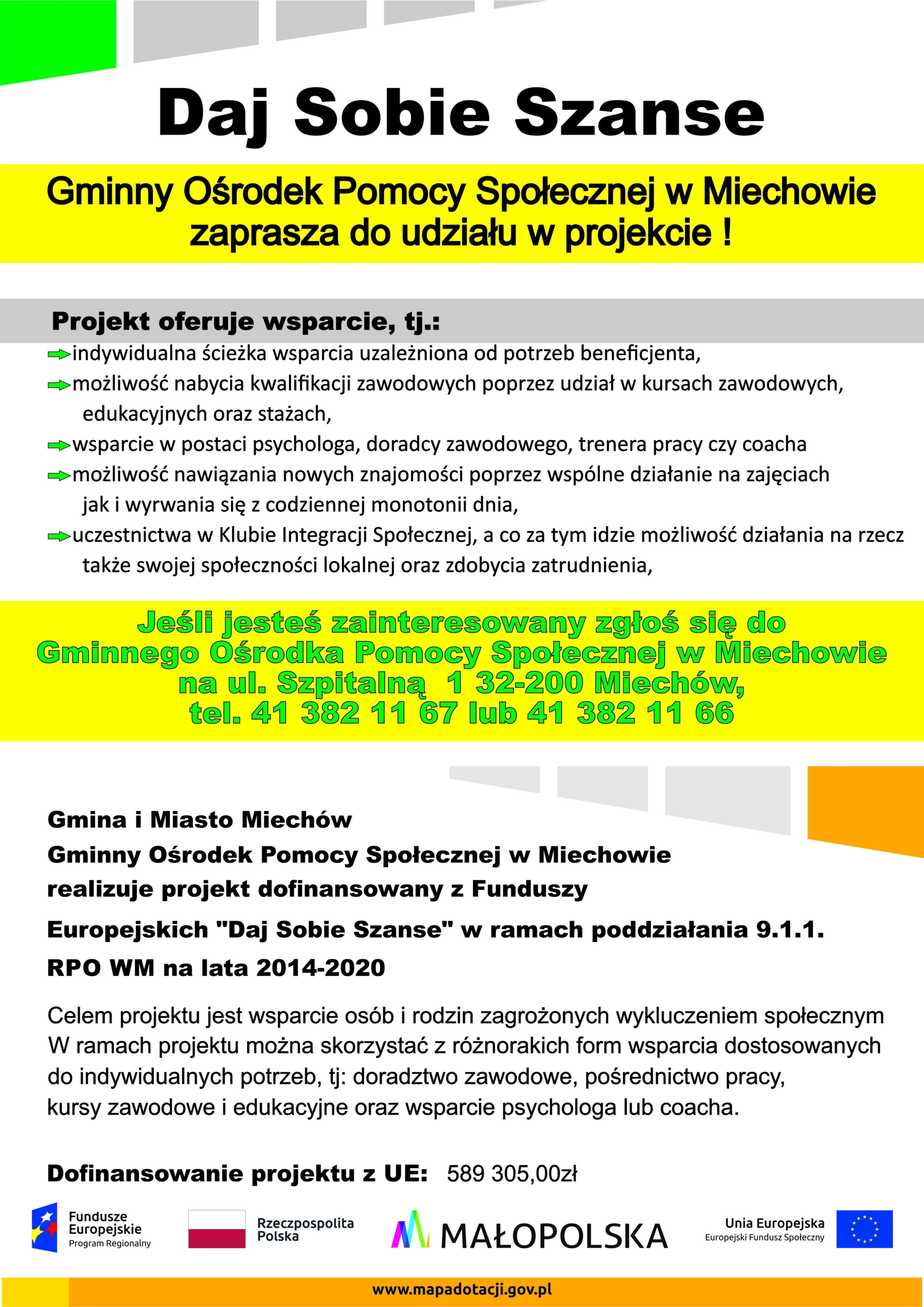 Daj sobie szanse. Gminny Ośrodek Pomocy Społecznej w Miechowie zaprasza do udziału w projekcie.