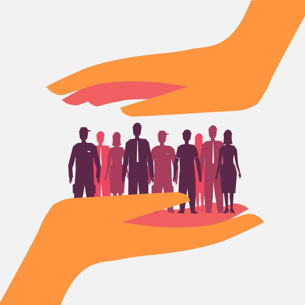 Ilustracja: Dużo ludzi różowo fioletowych na dłoniach.